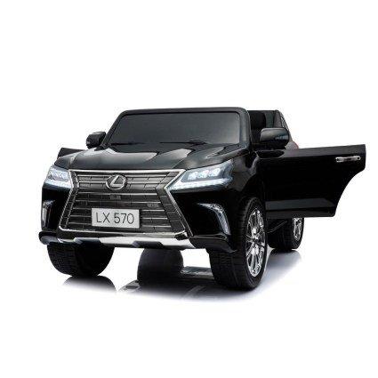 Электромобиль LEXUS LX 570 черный (легко съемный аккумулятор, 4WD, 2х местный, колеса резина, сиденье кожа, пульт, музыка)