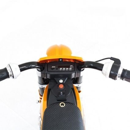 Детский кроссовый электромотоцикл оранжевый Qike TD 6V - QK-3058-ORANGE (колеса резина, кресло кожа, музыка, ручка газа)